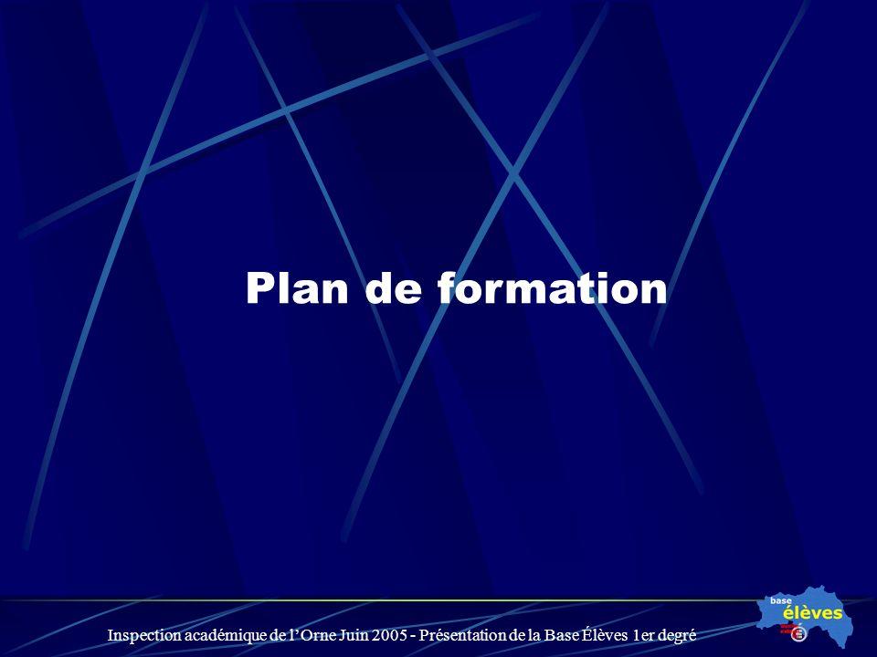 Inspection académique de lOrne Juin 2005 - Présentation de la Base Élèves 1er degré Plan de formation