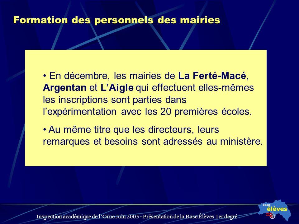 Inspection académique de lOrne Juin 2005 - Présentation de la Base Élèves 1er degré Formation des personnels des mairies En décembre, les mairies de L