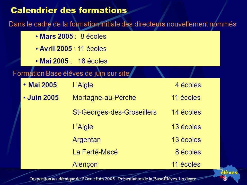 Inspection académique de lOrne Juin 2005 - Présentation de la Base Élèves 1er degré Calendrier des formations Mars 2005 : 8 écoles Avril 2005 : 11 éco