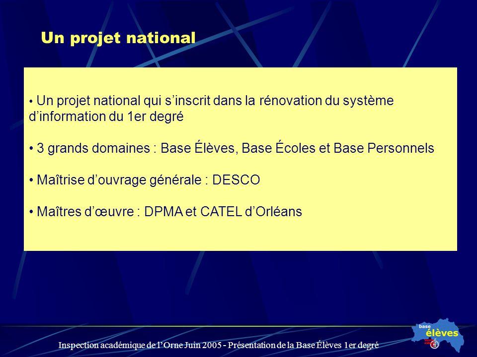 Inspection académique de lOrne Juin 2005 - Présentation de la Base Élèves 1er degré Un projet national Un projet national qui sinscrit dans la rénovat