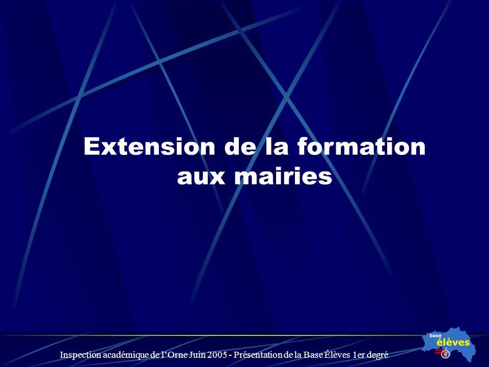 Inspection académique de lOrne Juin 2005 - Présentation de la Base Élèves 1er degré Extension de la formation aux mairies