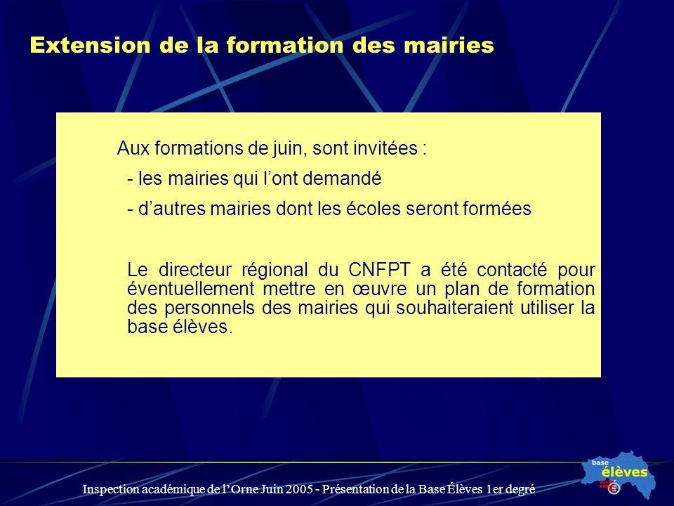 Inspection académique de lOrne Juin 2005 - Présentation de la Base Élèves 1er degré Extension de la formation des mairies Aux formations de juin, sont