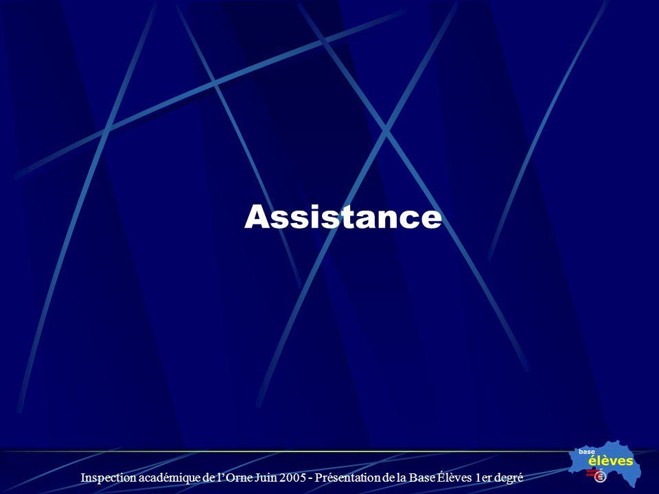 Inspection académique de lOrne Juin 2005 - Présentation de la Base Élèves 1er degré Assistance