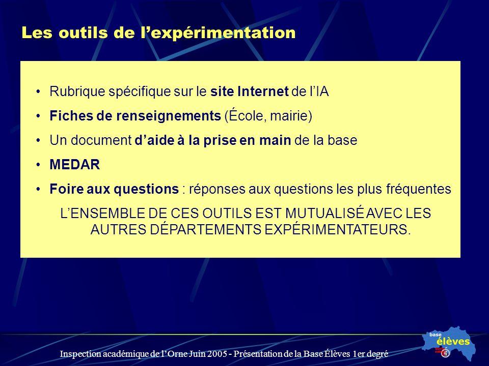 Inspection académique de lOrne Juin 2005 - Présentation de la Base Élèves 1er degré Les outils de lexpérimentation Rubrique spécifique sur le site Int