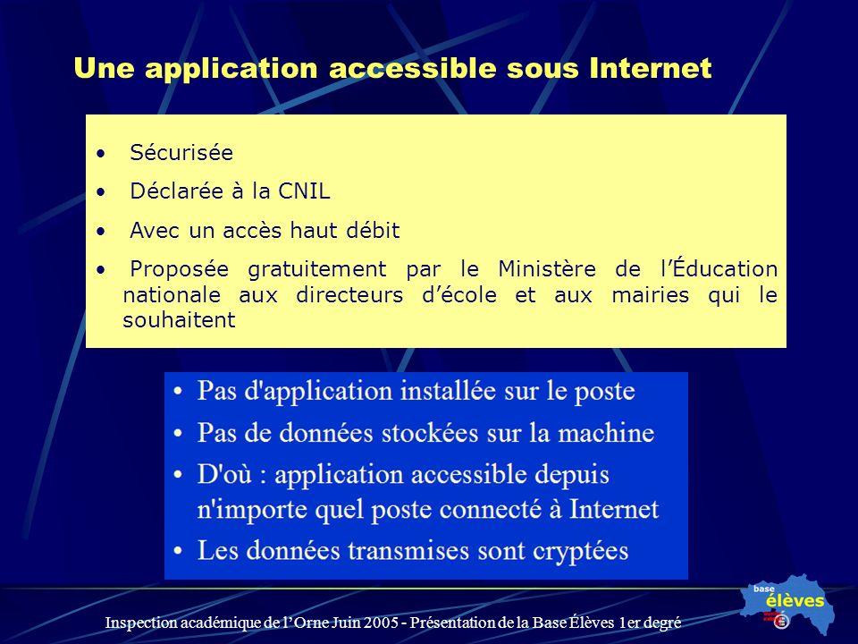 Inspection académique de lOrne Juin 2005 - Présentation de la Base Élèves 1er degré Une application accessible sous Internet Sécurisée Déclarée à la C