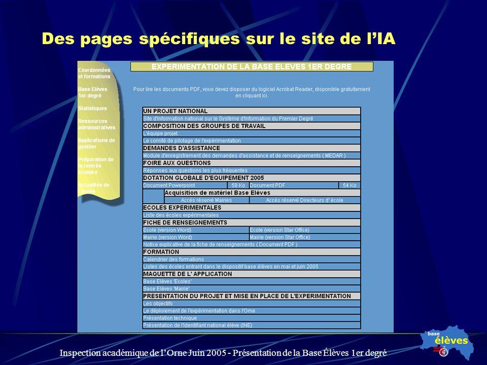 Inspection académique de lOrne Juin 2005 - Présentation de la Base Élèves 1er degré Des pages spécifiques sur le site de lIA