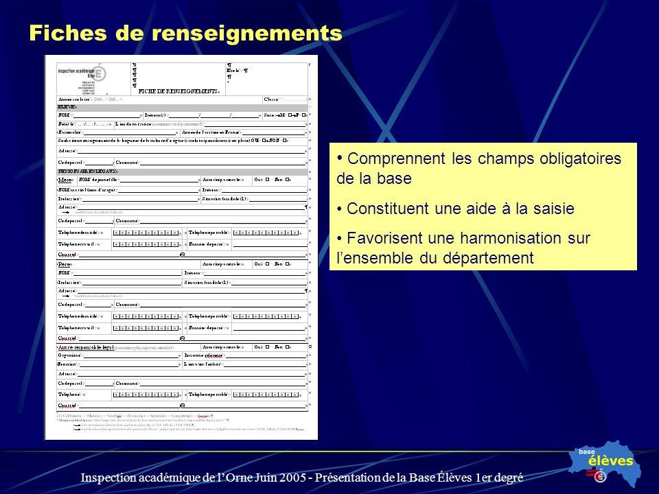 Inspection académique de lOrne Juin 2005 - Présentation de la Base Élèves 1er degré Fiches de renseignements Comprennent les champs obligatoires de la base Constituent une aide à la saisie Favorisent une harmonisation sur lensemble du département
