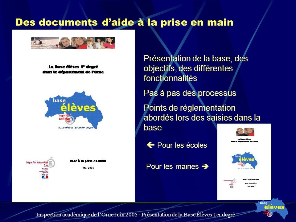 Inspection académique de lOrne Juin 2005 - Présentation de la Base Élèves 1er degré Des documents daide à la prise en main Présentation de la base, de