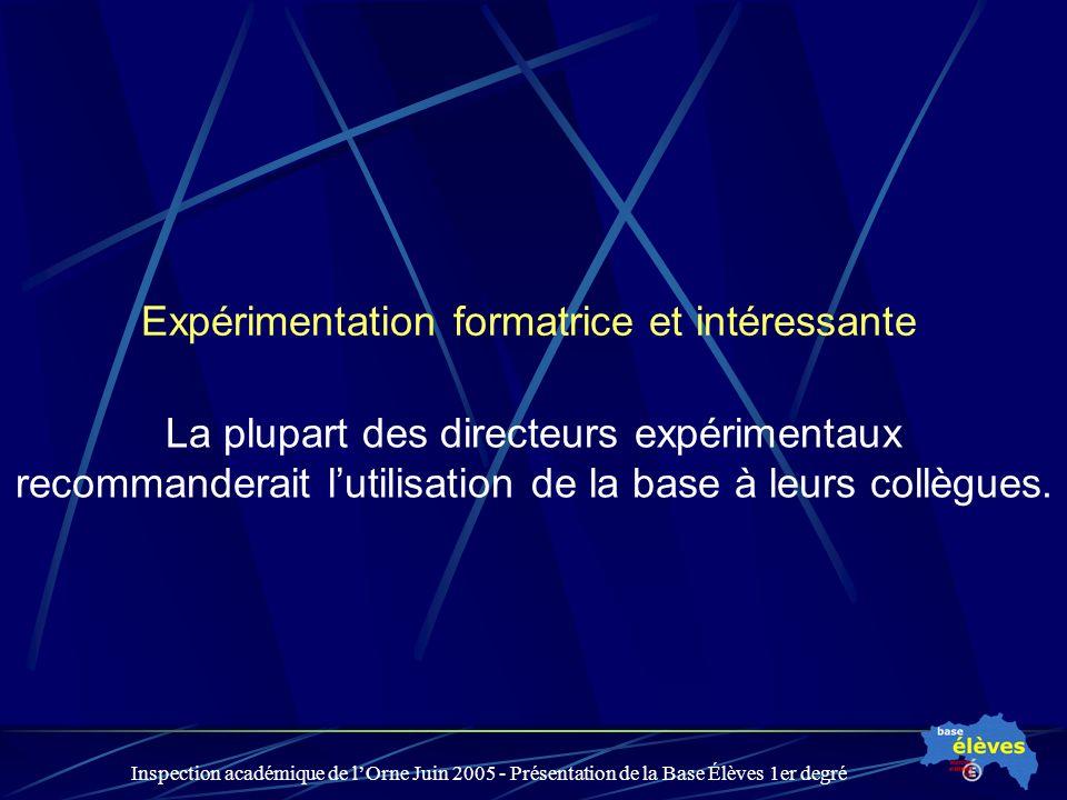 Inspection académique de lOrne Juin 2005 - Présentation de la Base Élèves 1er degré Expérimentation formatrice et intéressante La plupart des directeurs expérimentaux recommanderait lutilisation de la base à leurs collègues.