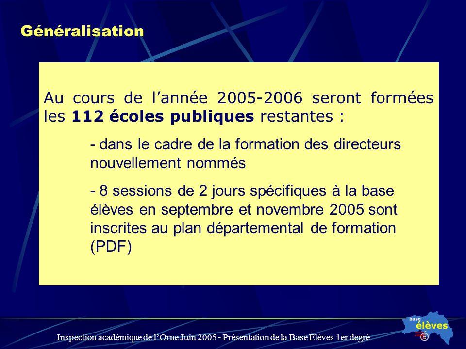 Inspection académique de lOrne Juin 2005 - Présentation de la Base Élèves 1er degré Généralisation Au cours de lannée 2005-2006 seront formées les 112