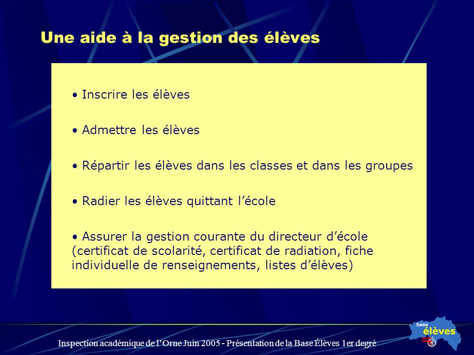 Inspection académique de lOrne Juin 2005 - Présentation de la Base Élèves 1er degré Les acteurs