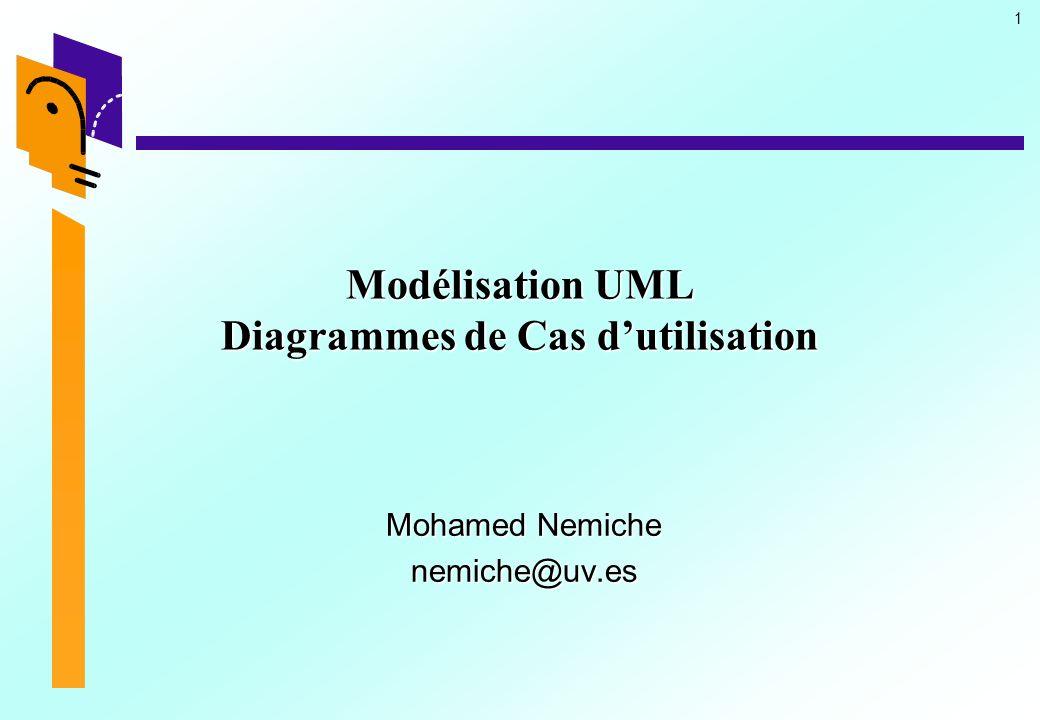 1 Modélisation UML Diagrammes de Cas dutilisation Mohamed Nemiche nemiche@uv.es