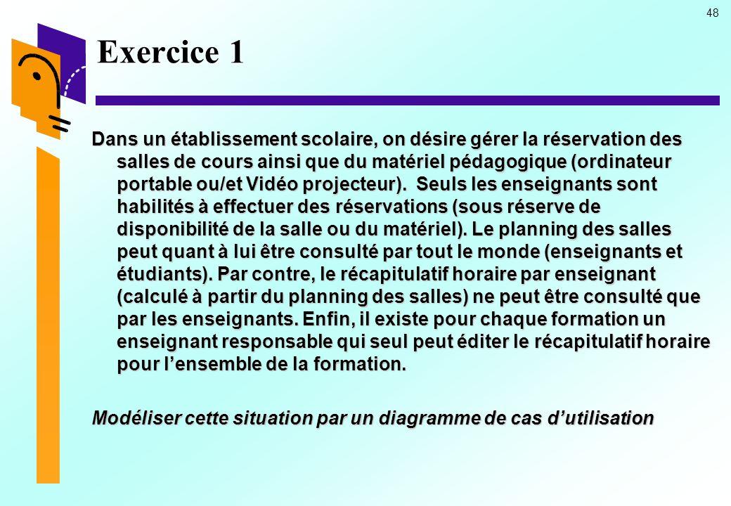 48 Exercice 1 Dans un établissement scolaire, on désire gérer la réservation des salles de cours ainsi que du matériel pédagogique (ordinateur portabl