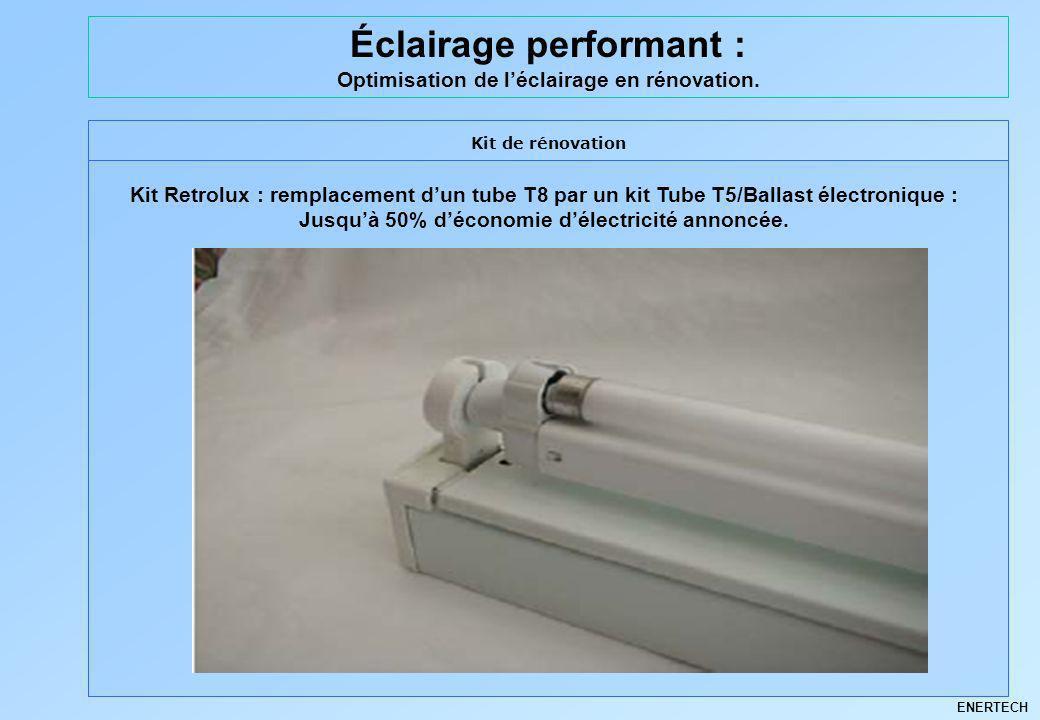 ENERTECH Éclairage performant : Optimisation de léclairage en rénovation. Kit de rénovation Kit Retrolux : remplacement dun tube T8 par un kit Tube T5