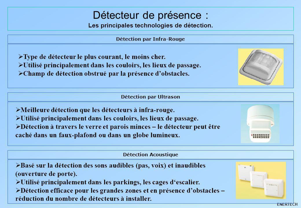 ENERTECH Détecteur de présence : Les principales technologies de détection. Détection par Infra-Rouge Type de détecteur le plus courant, le moins cher