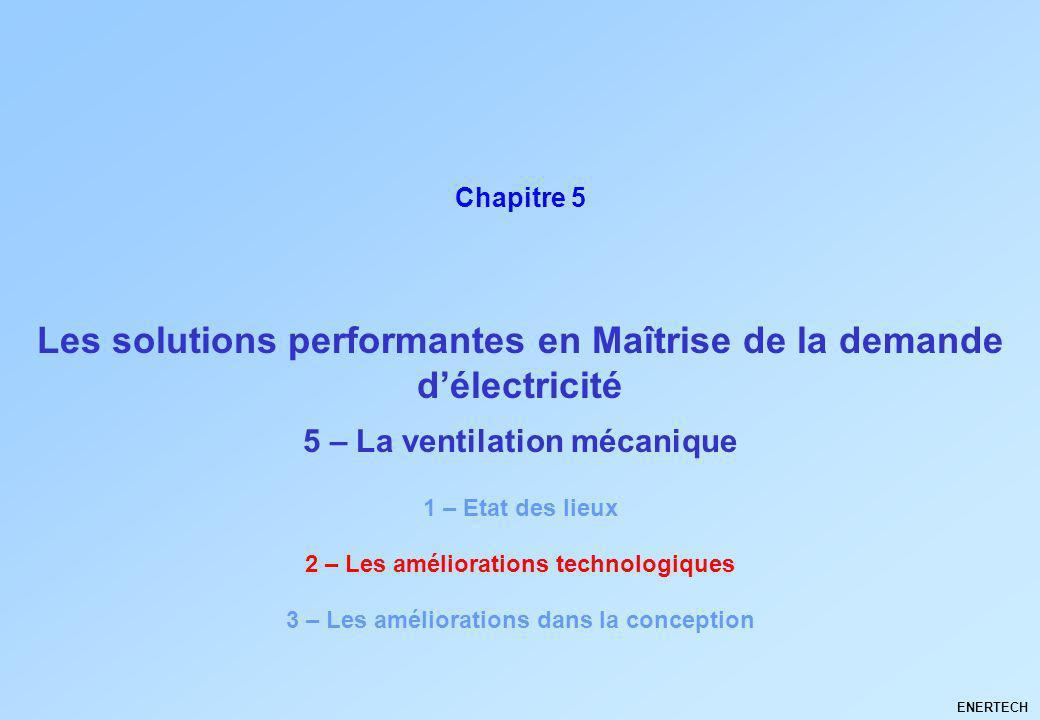 Les solutions performantes en Maîtrise de la demande délectricité ENERTECH Chapitre 5 5 – La ventilation mécanique 1 – Etat des lieux 2 – Les améliora