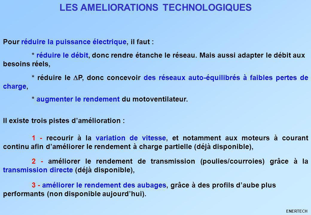 LES AMELIORATIONS TECHNOLOGIQUES Pour réduire la puissance électrique, il faut : * réduire le débit, donc rendre étanche le réseau. Mais aussi adapter