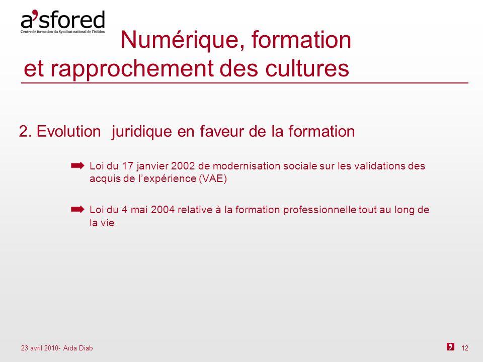 23 avril 2010- Aïda Diab 12 Numérique, formation et rapprochement des cultures 2.