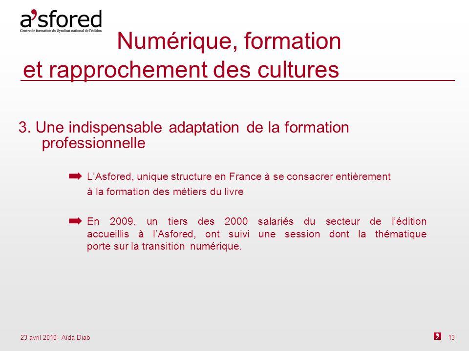 23 avril 2010- Aïda Diab 13 Numérique, formation et rapprochement des cultures 3.