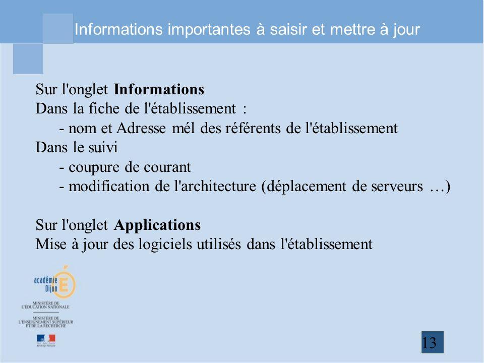 13 Informations importantes à saisir et mettre à jour Sur l'onglet Informations Dans la fiche de l'établissement : - nom et Adresse mél des référents