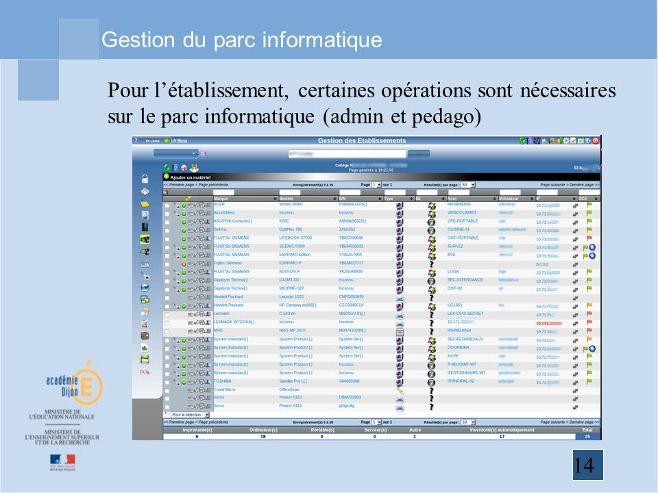 14 Gestion du parc informatique Pour létablissement, certaines opérations sont nécessaires sur le parc informatique (admin et pedago)