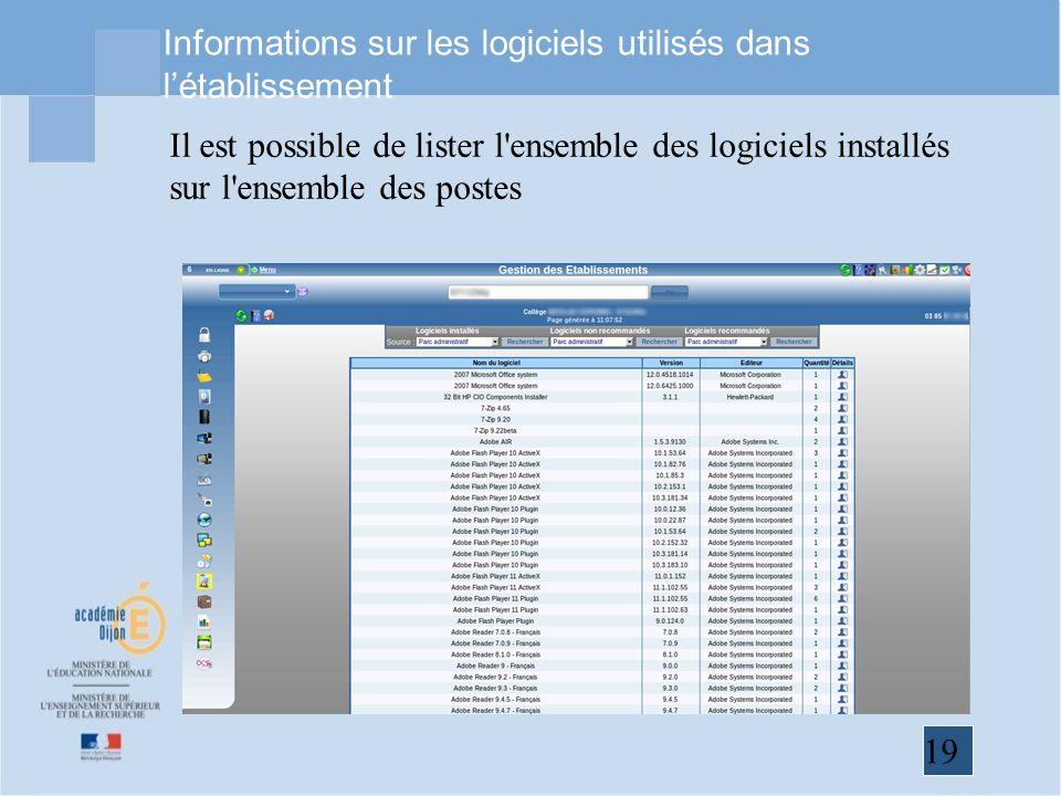 19 Informations sur les logiciels utilisés dans létablissement Il est possible de lister l ensemble des logiciels installés sur l ensemble des postes