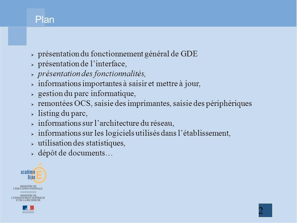 2 Plan présentation du fonctionnement général de GDE présentation de linterface, présentation des fonctionnalités, informations importantes à saisir e