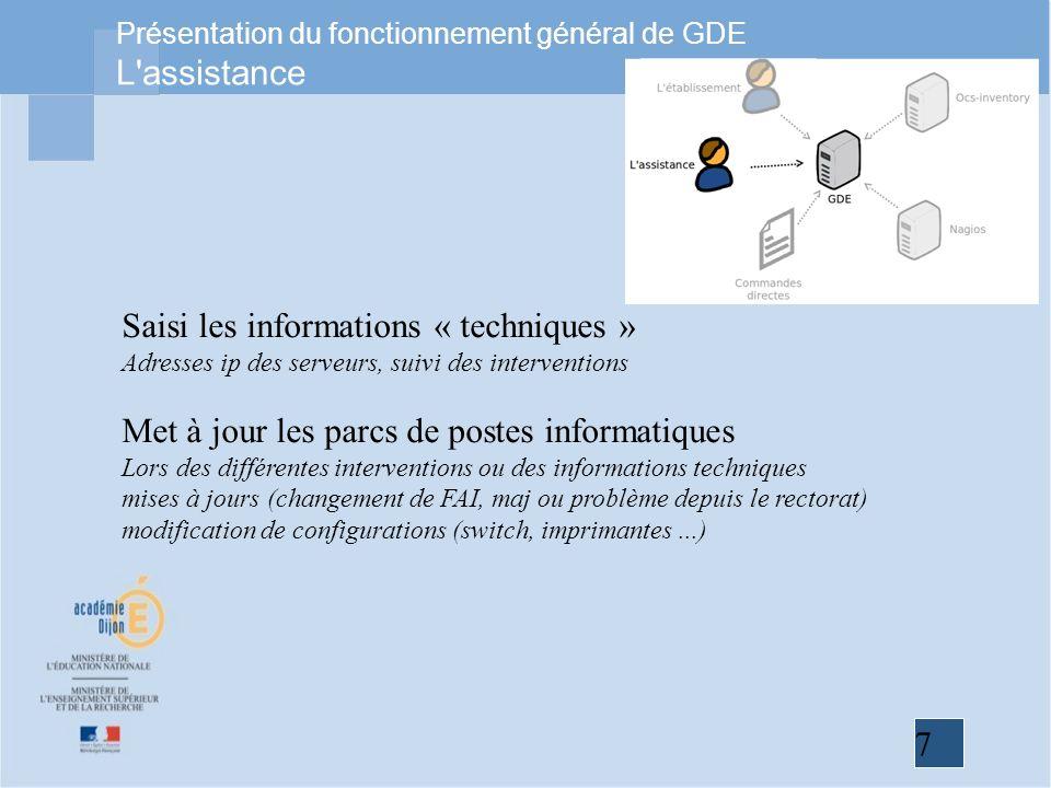 7 Présentation du fonctionnement général de GDE L'assistance Saisi les informations « techniques » Adresses ip des serveurs, suivi des interventions M