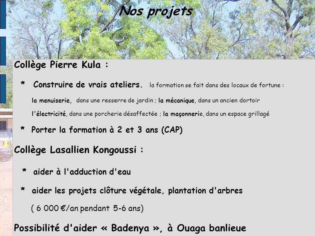 Nos projets Collège Pierre Kula : * Construire de vrais ateliers. la formation se fait dans des locaux de fortune : la menuiserie, dans une resserre d