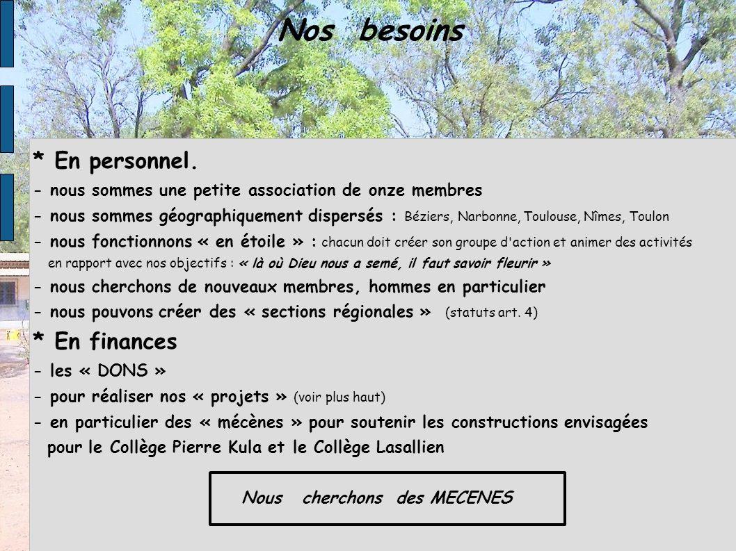 Nos besoins * En personnel. - nous sommes une petite association de onze membres - nous sommes géographiquement dispersés : Béziers, Narbonne, Toulous