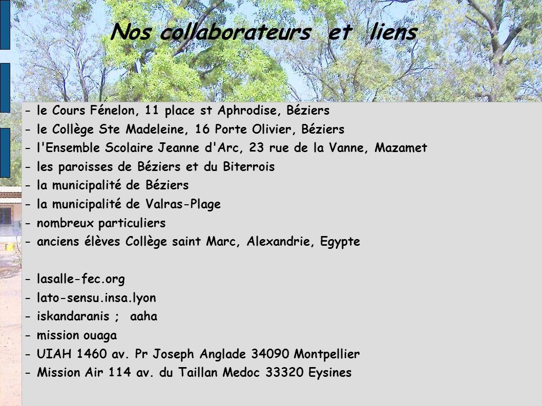Nos collaborateurs et liens - le Cours Fénelon, 11 place st Aphrodise, Béziers - le Collège Ste Madeleine, 16 Porte Olivier, Béziers - l'Ensemble Scol