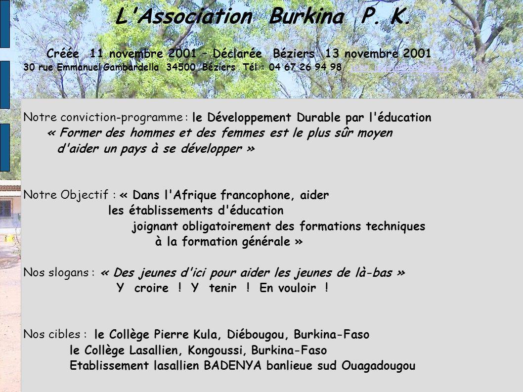 L'Association Burkina P. K. Créée 11 novembre 2001 – Déclarée Béziers 13 novembre 2001 30 rue Emmanuel Gambardella 34500 Béziers Tél : 04 67 26 94 98
