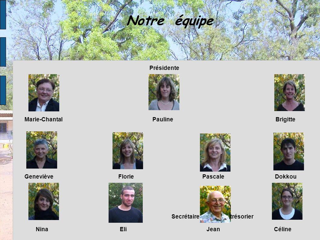 Notre équipe Présidente Marie-Chantal Pauline Brigitte Geneviève Florie Pascale Dokkou Nina Eli Jean Céline Secrétaire trésorier