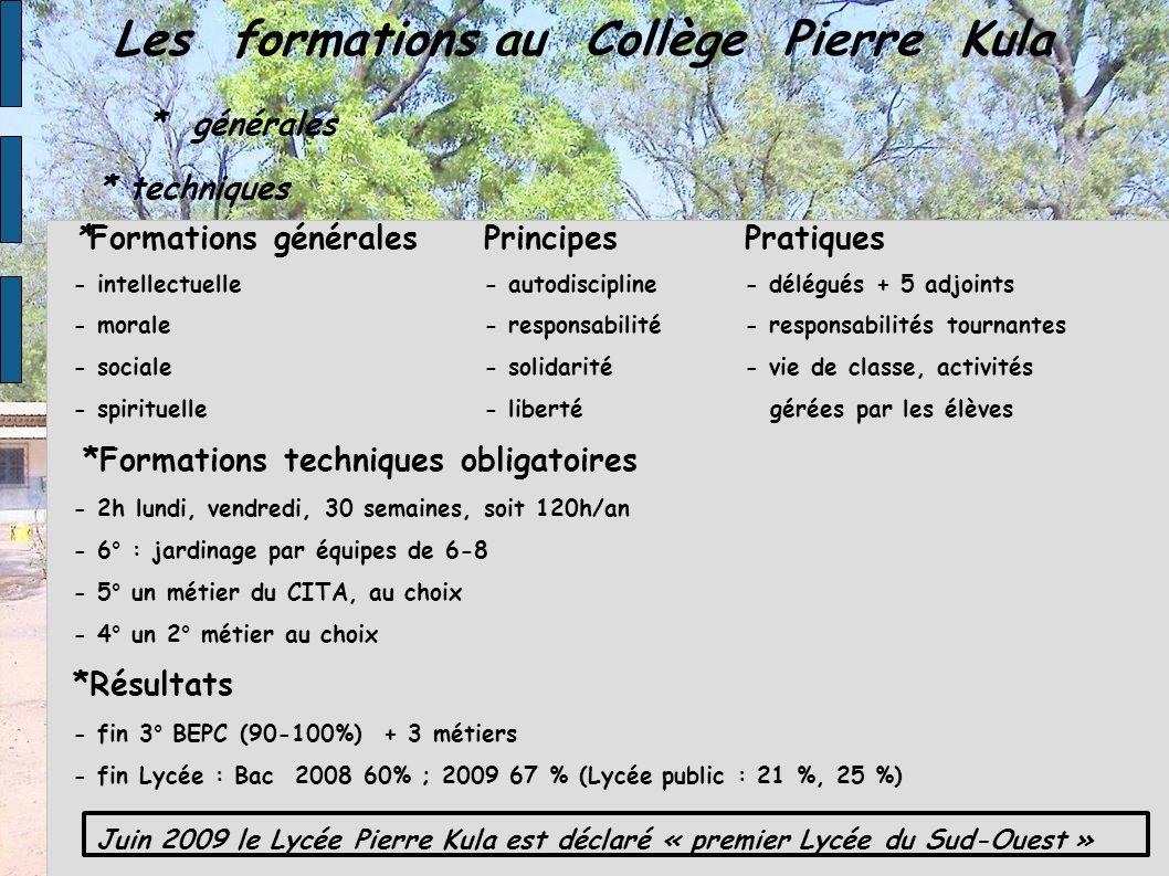 Les formations au Collège Pierre Kula * générales * techniques *Formations généralesPrincipes Pratiques - intellectuelle- autodiscipline- délégués + 5