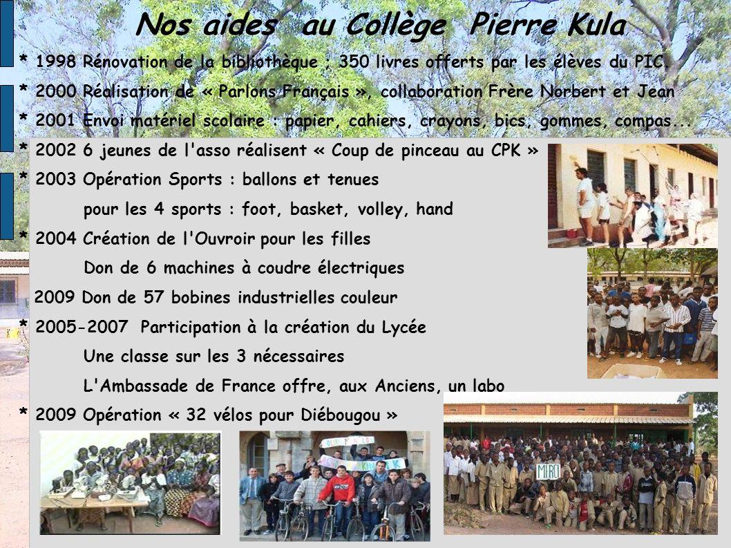 Nos aides au Collège Pierre Kula * 1998 Rénovation de la bibliothèque ; 350 livres offerts par les élèves du PIC. * 2000 Réalisation de « Parlons Fran