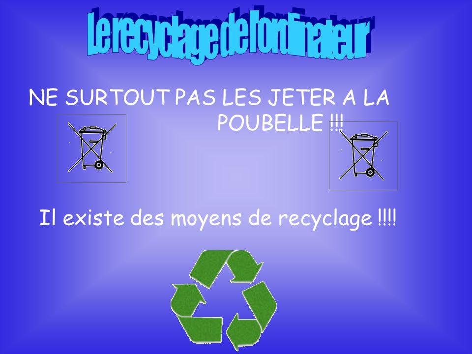 NE SURTOUT PAS LES JETER A LA POUBELLE !!! Il existe des moyens de recyclage !!!!