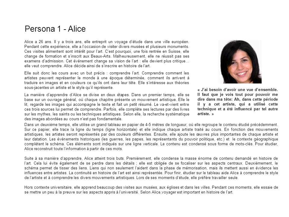 Persona 1 - Alice Alice a 26 ans. Il y a trois ans, elle entreprit un voyage détude dans une ville européen. Pendant cette expérience, elle a loccasio