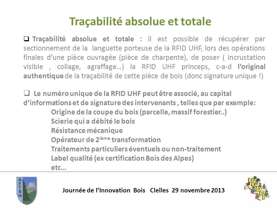 Journée de lInnovation Bois Clelles 29 novembre 2013 Traçabilité absolue et totale Traçabilité absolue et totale : il est possible de récupérer par se