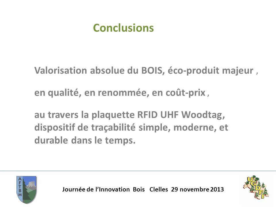 Journée de lInnovation Bois Clelles 29 novembre 2013 Conclusions Valorisation absolue du BOIS, éco-produit majeur, en qualité, en renommée, en coût-pr