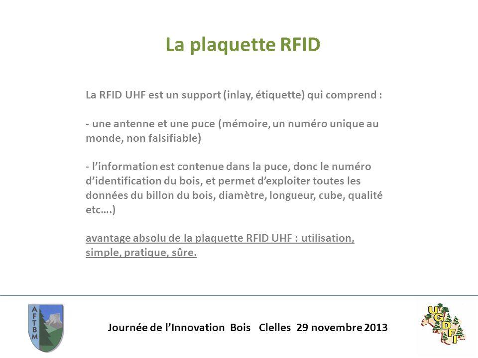 Journée de lInnovation Bois Clelles 29 novembre 2013 La plaquette RFID La RFID UHF est un support (inlay, étiquette) qui comprend : - une antenne et u