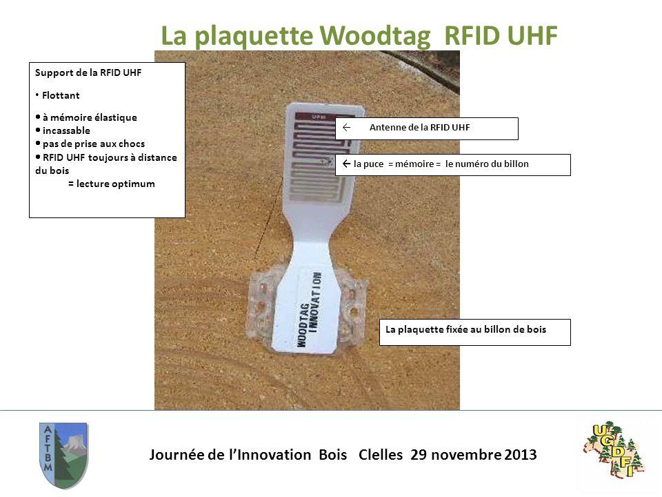 Journée de lInnovation Bois Clelles 29 novembre 2013 La plaquette Woodtag RFID UHF Support de la RFID UHF Flottant à mémoire élastique incassable pas