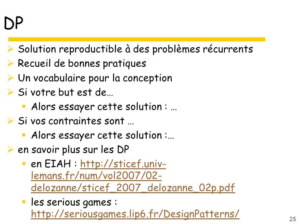 DP Solution reproductible à des problèmes récurrents Recueil de bonnes pratiques Un vocabulaire pour la conception Si votre but est de… Alors essayer cette solution : … Si vos contraintes sont … Alors essayer cette solution :… en savoir plus sur les DP en EIAH : http://sticef.univ- lemans.fr/num/vol2007/02- delozanne/sticef_2007_delozanne_02p.pdfhttp://sticef.univ- lemans.fr/num/vol2007/02- delozanne/sticef_2007_delozanne_02p.pdf les serious games : http://seriousgames.lip6.fr/DesignPatterns/ http://seriousgames.lip6.fr/DesignPatterns/ 25