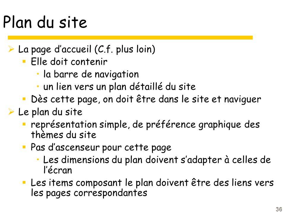 36 Plan du site La page daccueil (C.f.