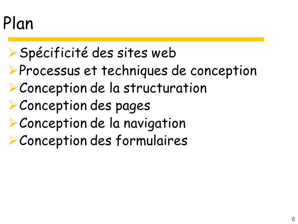6 Plan Spécificité des sites web Processus et techniques de conception Conception de la structuration Conception des pages Conception de la navigation Conception des formulaires