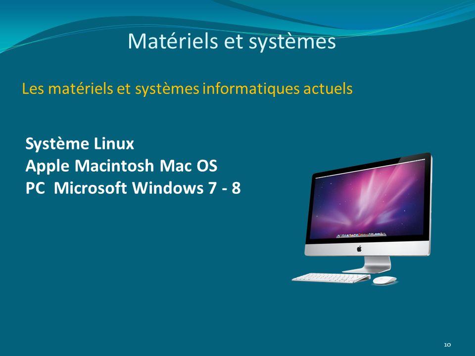 Les matériels et systèmes informatiques actuels 10 Système Linux Apple Macintosh Mac OS PC Microsoft Windows 7 - 8 Matériels et systèmes