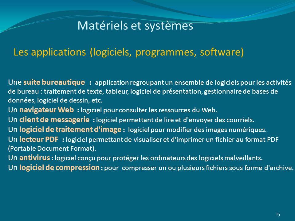 Matériels et systèmes Les applications (logiciels, programmes, software) 15 Une suite bureautique : application regroupant un ensemble de logiciels po