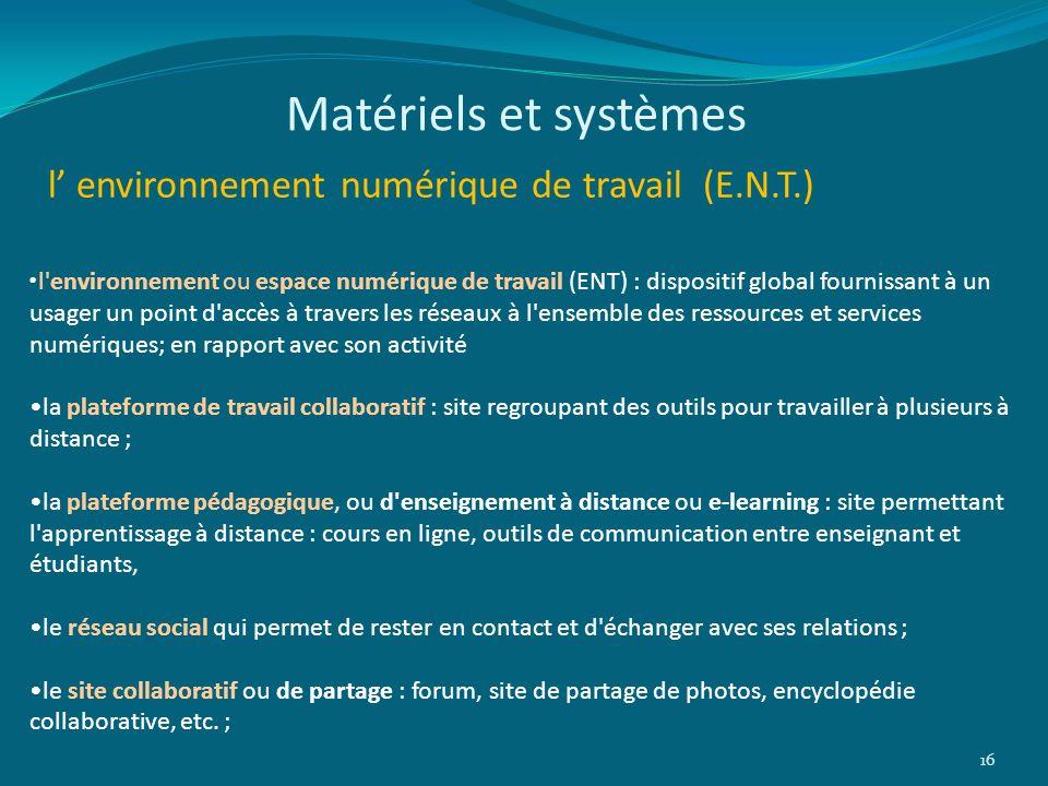 l environnement numérique de travail (E.N.T.) 16 l'environnement ou espace numérique de travail (ENT) : dispositif global fournissant à un usager un p