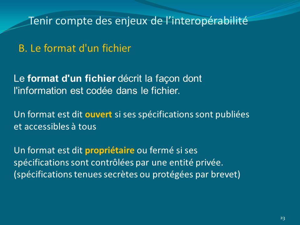 Tenir compte des enjeux de linteropérabilité B. Le format d'un fichier 23 Le format d'un fichier décrit la façon dont l'information est codée dans le