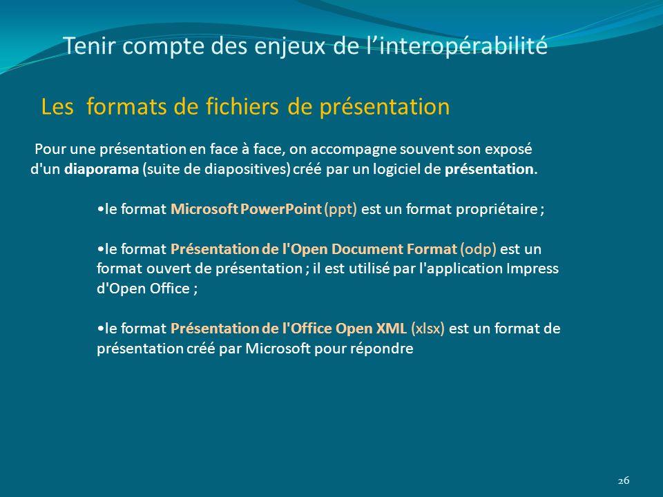 Tenir compte des enjeux de linteropérabilité Les formats de fichiers de présentation 26 Pour une présentation en face à face, on accompagne souvent so