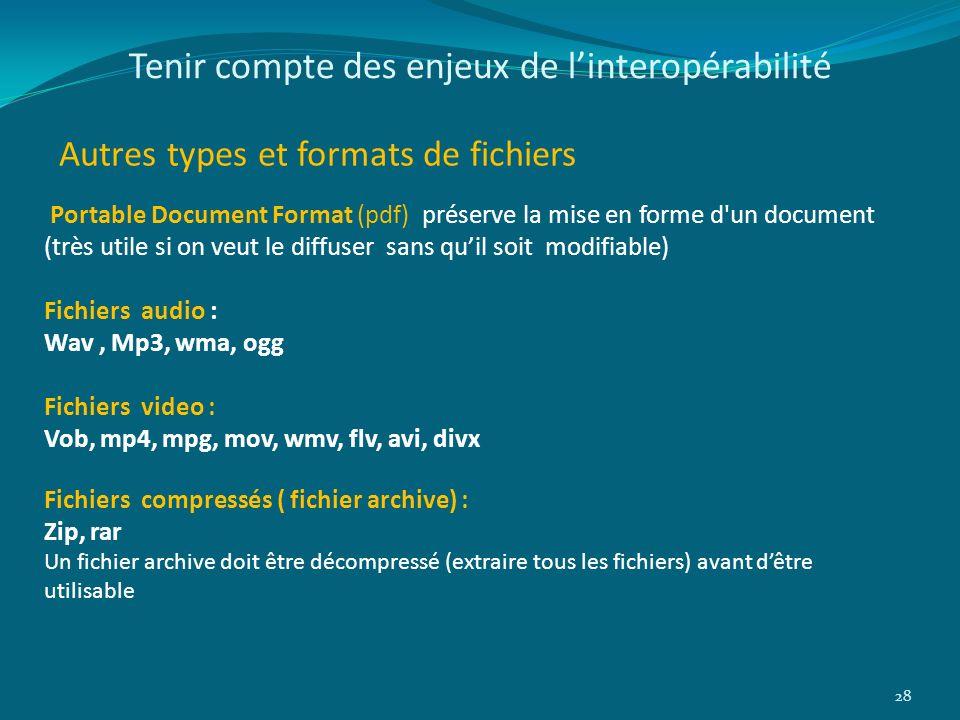 Tenir compte des enjeux de linteropérabilité Autres types et formats de fichiers 28 Portable Document Format (pdf) préserve la mise en forme d'un docu